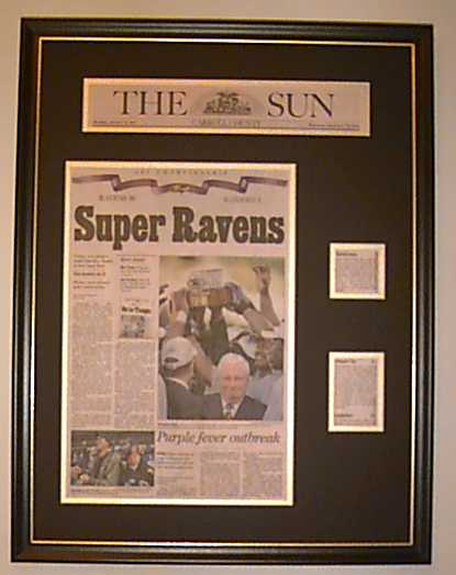 custom framing ideas. We Helped Immortalize The Super Bowl Champion, Baltimore Ravens By Framing Many Articles And Memorabilia. Custom Ideas